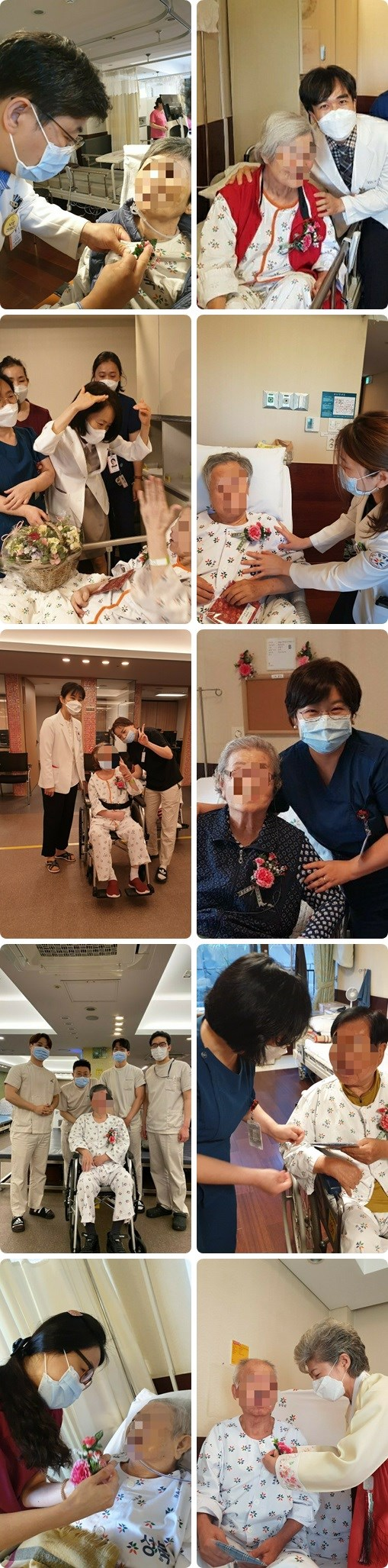 원내 환자분들께 어버이날 카네이션을 달아드리고 선물을 전달하는 사진입니다