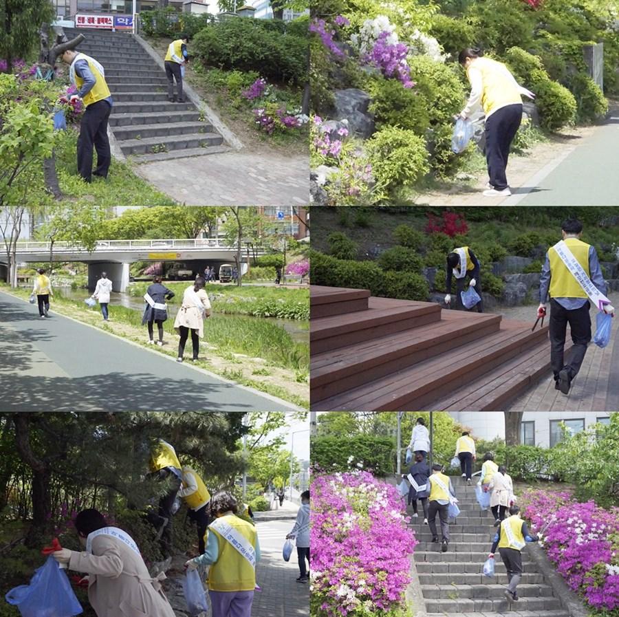 사회공헌활동으로 송파참노인전문병원 직원분들과 성내천 주변, 병원 인근 지역의 쓰레기들을 주워 청소하는 클린캠페인활동을 진행했습니다.