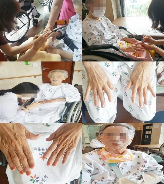어르신들의 손톱관리와 얼굴에 마스크팩을 붙여드려 케어를 해드리고 있는 모습입니다~