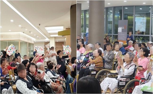 많은 환자분들과 간병보호자분들께서 행복노래자랑에 참여하신 모습