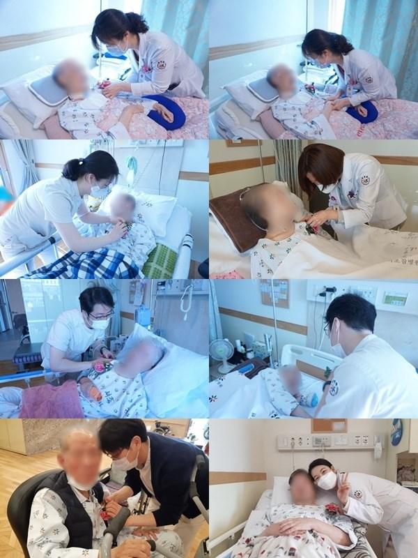 원내 환자분들께 어버이날 카네이션을 달아드리는 사진들입니다.