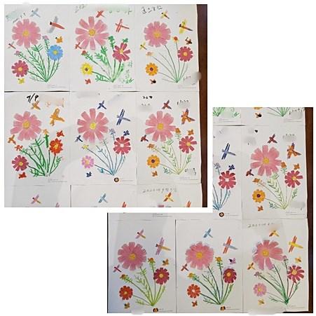 색칠된 코스모스의 꽃잎과 꽃술을 오리고 붙이며, 다른 부분은 색칠해 코스모스를 완성하시는 모습입니다.