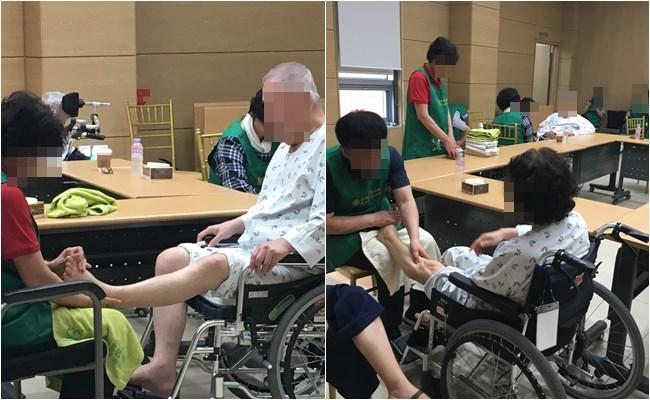 우리 환자분들께서 발마사지 프로그램에 참여하신 모습