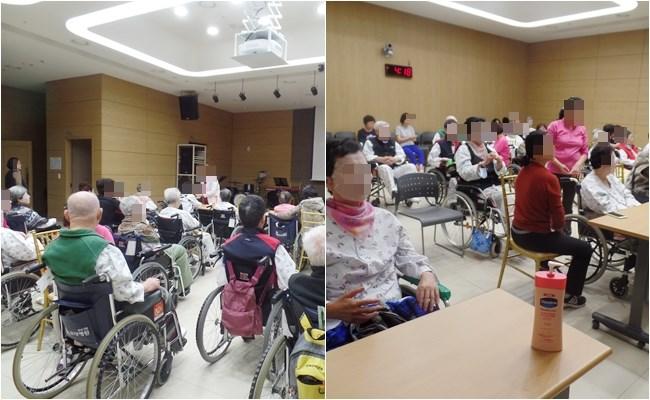 우리 환자분들께서 얼굴마사지&손마사지 프로그램에 참여하신 모습