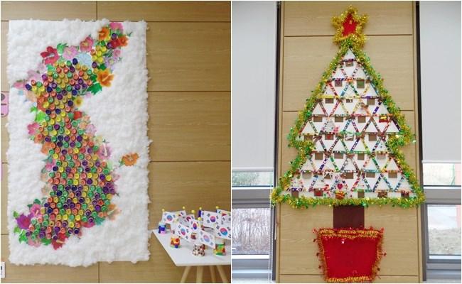 우리 환자분들의 멋진 협동작품인 우리나라 지도와 크리스마스 트리 사진
